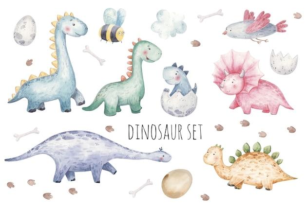 Satz niedliche dinosaurier, vögel, wespen, fußabdrücke und eierkinderaquarellillustration, kinderzimmerdekor, druck, textilien