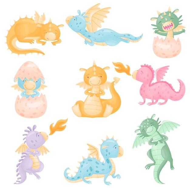 Satz niedliche drachen der verschiedenen farben mit flügeln