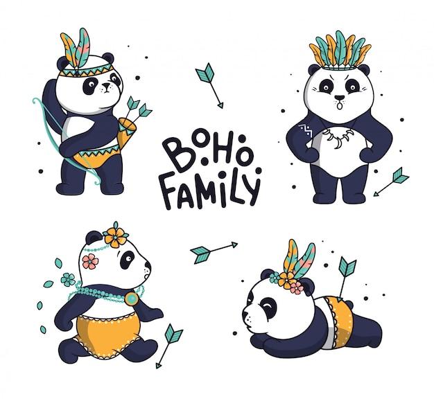 Satz niedliche familienpandas. tierische comicfiguren zeigen geschichte. die böhmische sammlung ist gut für familien-look-drucke, aufkleber usw. mit schriftzug - boho-familie auf weißem hintergrund