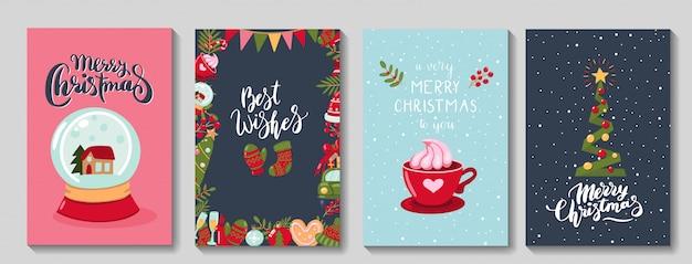 Satz niedliche frohe weihnachtsgrußkarten