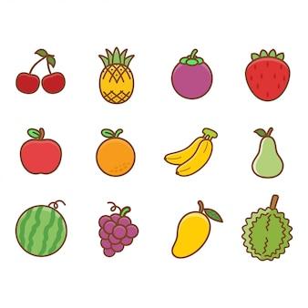 Satz niedliche früchte für kinder und kinder, die vokabeln lernen.