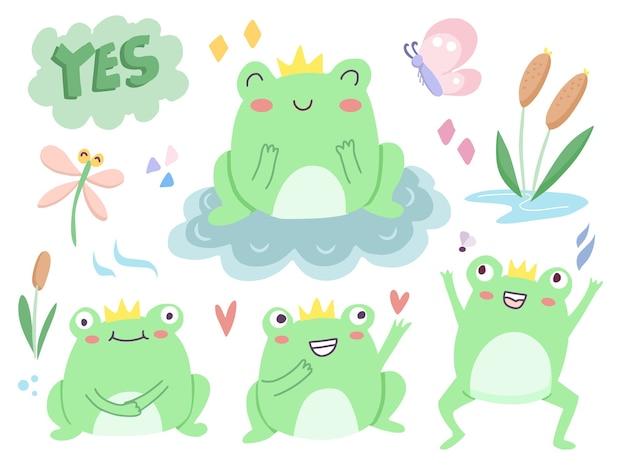 Satz niedliche grüne froschkarikaturillustration