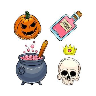 Satz niedliche halloween-ikonen.