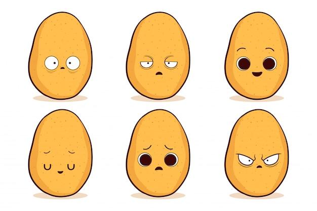 Satz niedliche handgezeichnete kartoffel