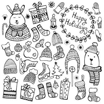 Satz niedliche handgezeichnete weihnachts-, neujahrs- und winterelemente lokalisiert auf weißem hintergrund. doodle-sammlung.