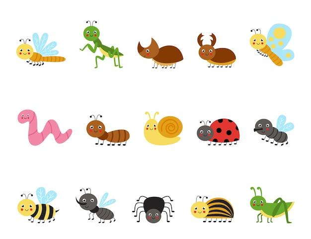 Satz niedliche insekten im karikaturstil. sammlung kindlicher illustrationen.