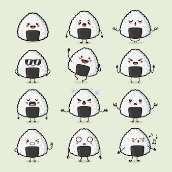 Satz niedliche japanische essen onigiri charakter in verschiedenen aktion emotionen