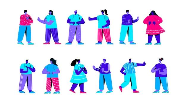 Satz niedliche jungen und mädchen, die negative gesten flachen blauen personencharakter zeigen