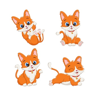 Satz niedliche kätzchenkarikatur in verschiedenen posen