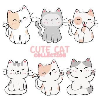 Satz niedliche karikatur verspielte kätzchenkatze in verschiedenen posen