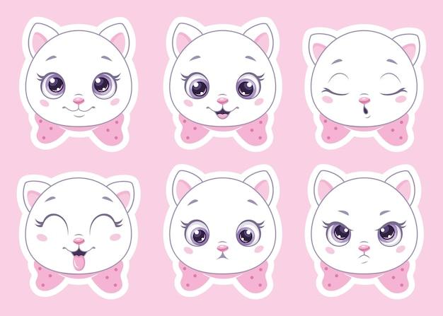Satz niedliche karikaturkatzen-emoticons