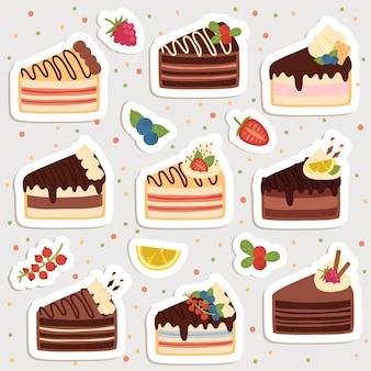 Satz niedliche karikaturkuchenaufkleber. süße aufkleber, aufnäher oder stecknadelsammlung.