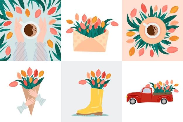 Satz niedliche karten mit tulpen geeignet für grußkarte