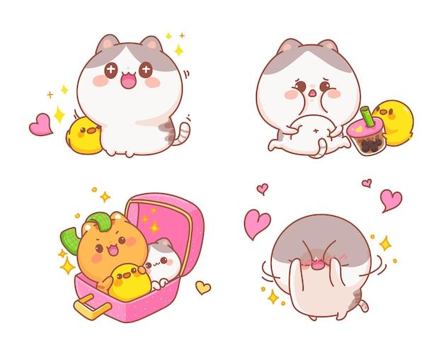 Satz niedliche katzen glücklich verschiedene gesten cartoon illustration