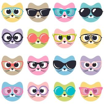 Satz niedliche katzen mit sonnenbrille