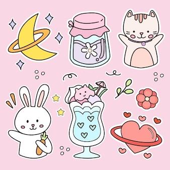 Satz niedliche katzen- und kaninchenaufkleberzeichnung