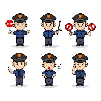 Satz niedliche kinder mit polizei kostüm maskottchen design