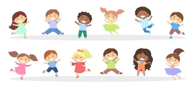 Satz niedliche kleine springende kinder