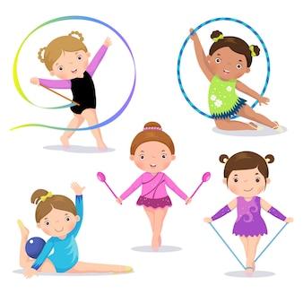 Satz niedliche mädchen der rhythmischen gymnastik