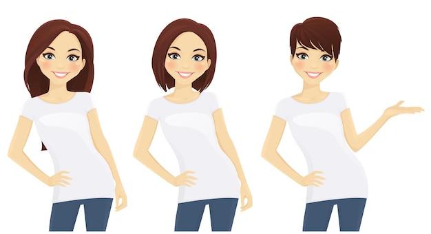 Satz niedliche mädchen mit verschiedenen frisuren in weißen t-shirts