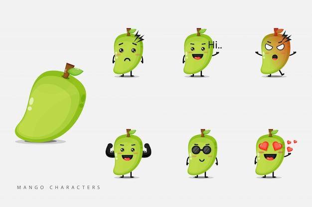 Satz niedliche mangofruchtcharaktere