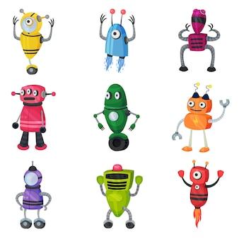 Satz niedliche mehrfarbige roboter der verschiedenen formen. illustration auf weißem hintergrund.