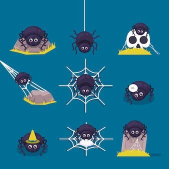Satz niedliche noch gruselige spinne halloween maskottchen design illustration