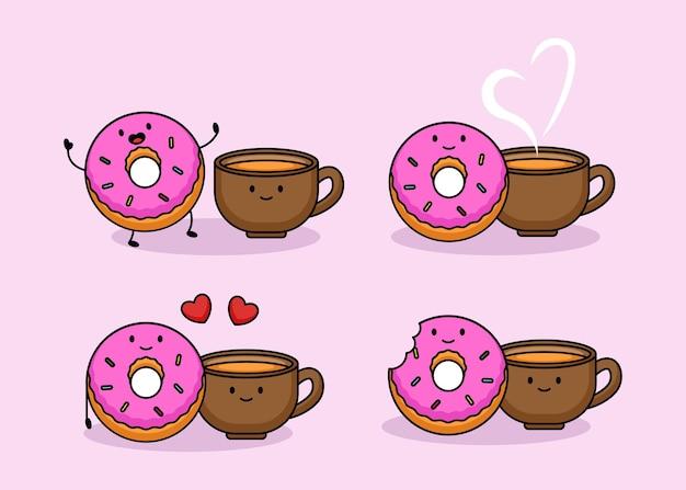 Satz niedliche paar donuts und kaffee am valentinstag