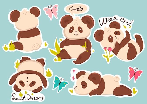 Satz niedliche pandas aufkleber mit bildunterschriften.