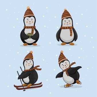 Satz niedliche pinguinhand gezeichnete illustration