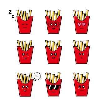 Satz niedliche pommes frites illustration