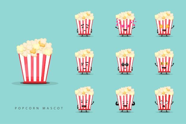 Satz niedliche popcornmaskottchen