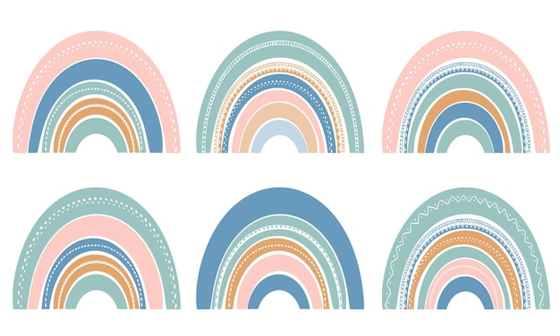 Satz niedliche regenbogen lokalisiert auf weiß