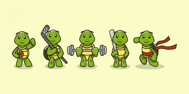 Satz niedliche schildkröte in sportausrüstung