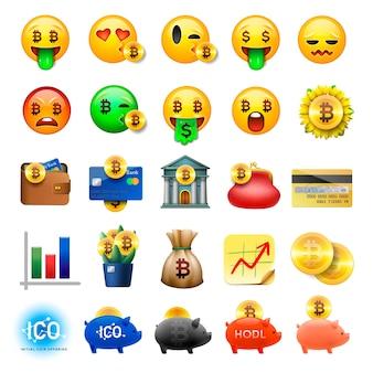 Satz niedliche smiley-emoticons, emoji-design, bicoin, geschäft, kryptowährungsikonen, illustration.