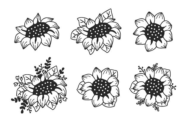 Satz niedliche sonnenblumen eingestellt. hand gezeichnete illustration.