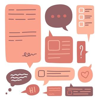 Satz niedliche sprechblasen-symbolsammlung. hand gezeichnetes gekritzel. dekorative gestaltungselemente. bunte illustration im flachen stil.