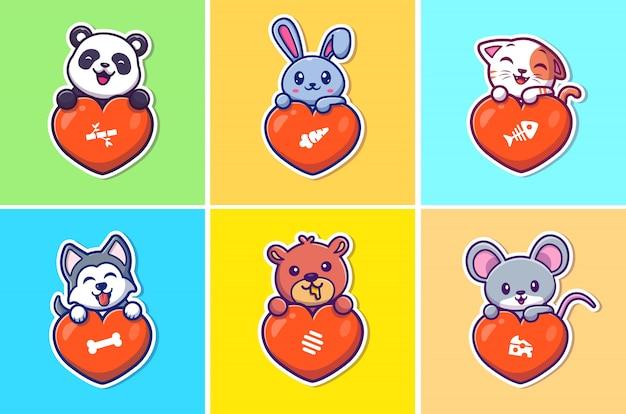 Satz niedliche tiere lieben illustration. tier und großes herz. flacher cartoon-stil