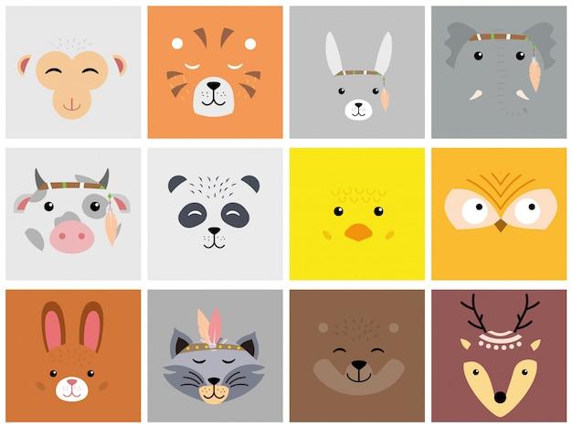 Satz niedliche tiergesichter der karikatur. löwe, hase, katze, hund, elefant, bär, fuchs, affe, hirsch.
