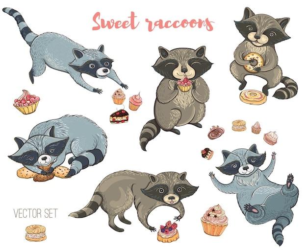 Satz niedliche waschbären mit kuchen und keksen