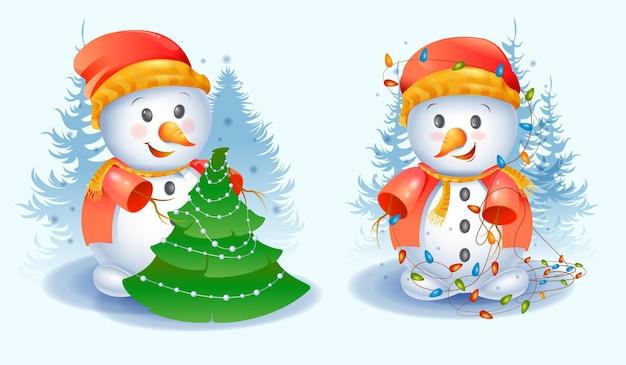 Satz niedliche weihnachtsschneemänner
