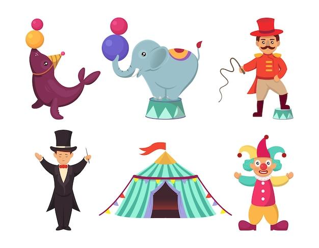 Satz niedliche zirkuskarneval charakter maskottchen design illustration