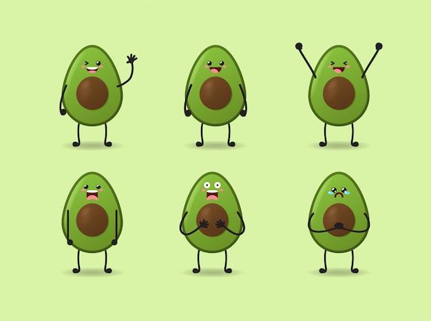 Satz niedlichen avocado-ausdrucksentwurfs