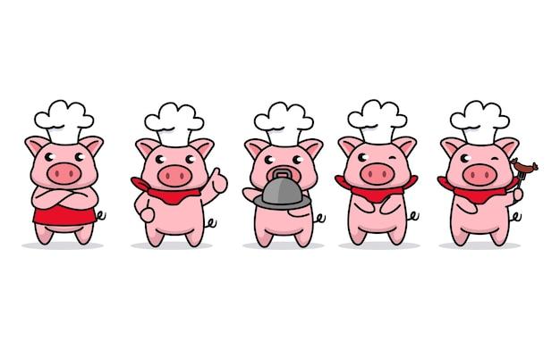 Satz niedlichen babykochschweinchen-maskottchenentwurfs