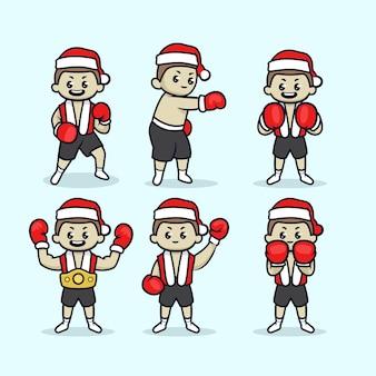 Satz niedlichen boxing day mit weihnachtsmannkostüm