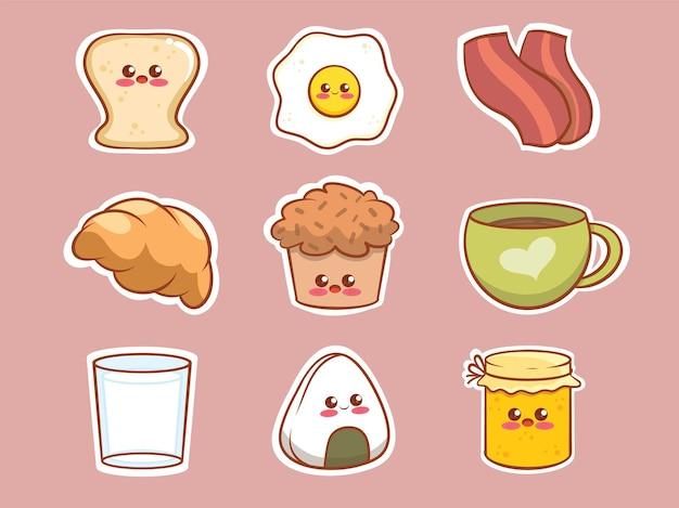 Satz niedlichen frühstücksnahrungsmittelkarikaturcharakteraufkleber