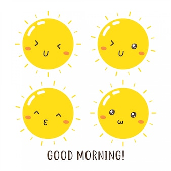 Satz niedlichen guten morgensonnenvektorentwurfs