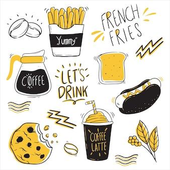 Satz niedlichen kaffeeentwurfs mit gekritzelart
