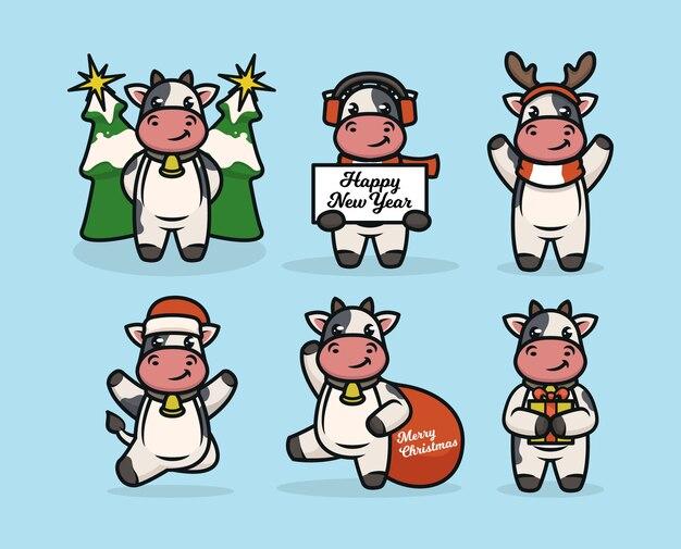 Satz niedlichen kuhbullen mit weihnachtsdekoration
