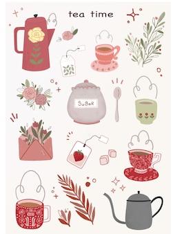 Satz niedlichen nachmittagstee, kaffee, wasserkocher und teetassen